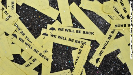 Hong Kong demonstrators pledged to return after the last Umbrella activists left the streets in December 2014.