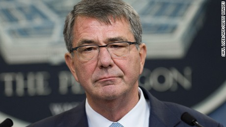 Secretary of Defense Ashton Carter announces that the military will lift its ban on transgender troops during a press briefing at the Pentagon in Washington, DC, June 30, 2016.