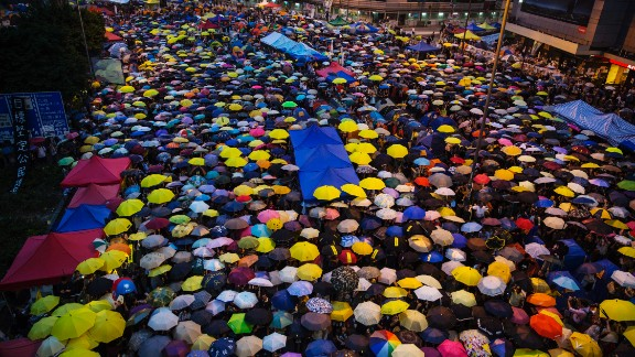 """The pro-democracy """"Umbrella Movement"""" shut down parts of Hong Kong for 79 days in 2014."""