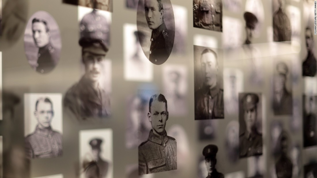 Archive photos of World War I soldiers are displayed at the Thiepval Memorial Visitor Center, which opened a new exhibition space on June 3 ahead of the centenary commemoration services.