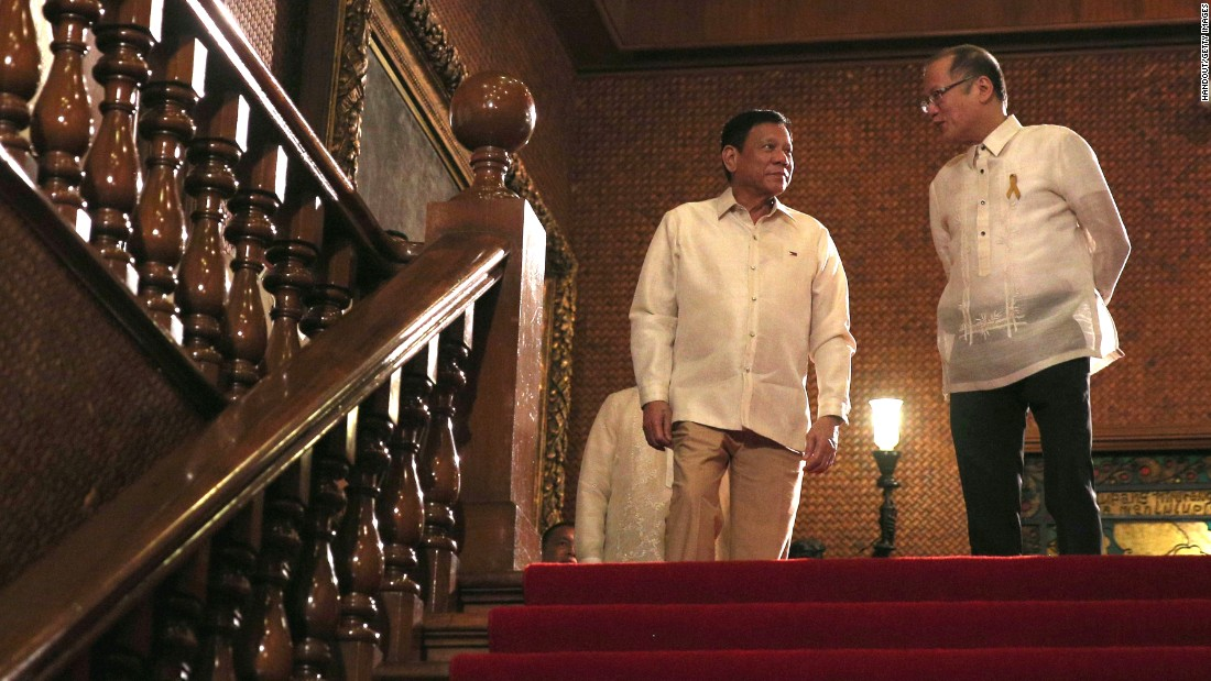 "Duterte (left), also known as 'The Punisher' from his term as <a href=""http://www.cnn.com/2016/04/21/asia/philippines-rodrigo-duterte-profile/"" target=""_blank"">mayor of Davao City</a>, has promised a ruthless and controversial war on crime as the chief focus of his six-year term."
