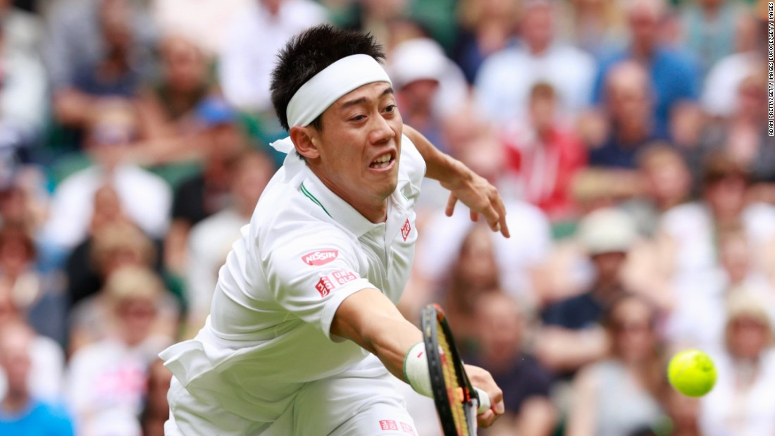 Kei Nishikori was first up on Centre Court against France's Julien Benneteau and despite losing the first set the Japanese won in four to reach the third round for the fourth time.