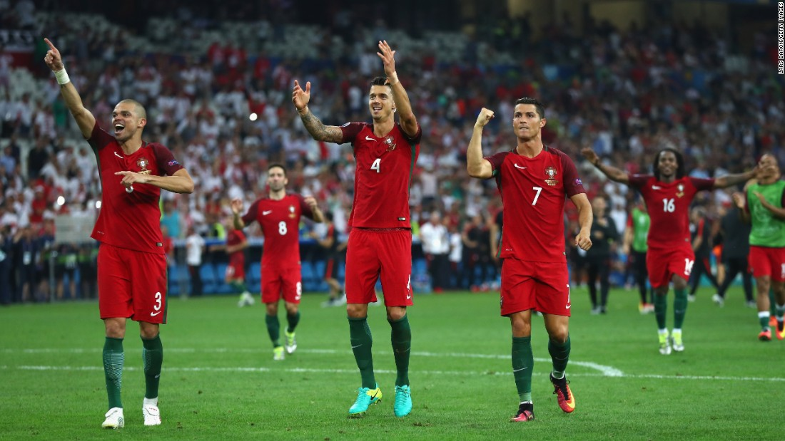 Portuguese players celebrate Thursday, June 30, after they defeated Poland to advance to the semifinals of Euro 2016. The match in Marseille, France, ended 1-1 after extra time.