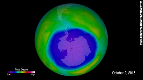 This image shows ozone concentrations above Antarctica on October 2, 2015.