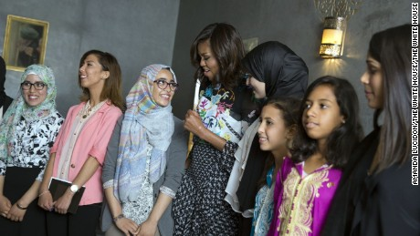 "First Lady Michelle Obama talks with students about ""girl power"" prior to a conversation in support of the Let Girls Learn initiative, at Dar Diafa Restaurant in Marrakech, Morocco, June 28, 2016. (Official White House Photo by Amanda Lucidon)"