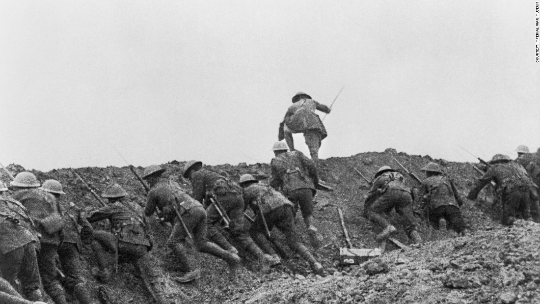 "A still from the film, ""The Battle of the Somme,"" sequence 31,""The Attack"" is seen from the Imperial War Museum's collections. The film is on view at IWM London's exhibition, ""Real to Reel: A Century of War Movies,"" through January 8, 2017."