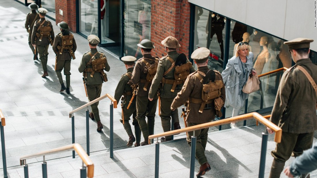 Men dressed as soldiers marched through Belfast, Northern Ireland, to remember the 19,240 British men who lost their lives on July 1, 1916.