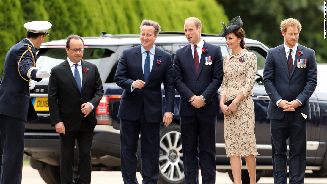 French President Francois Hollande, British Prime Minister David Cameron, the Duke and Duchess of Cambridge, and Prince Harry attend the service at Thiepval.