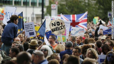Pro-EU campaigners protest against Britain leaving the European Union in central London during a march from Park Lane to Parliament Square on Saturday, July 2.