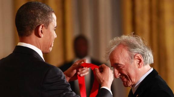 President Barack Obama presents the 2009 National Humanities Medal to Elie Wiesel on February 25, 2010, in the East Room of the White House. Nobel Peace Prize laureate and Holocaust survivor Wiesel died July 2, 2016, at age 87.