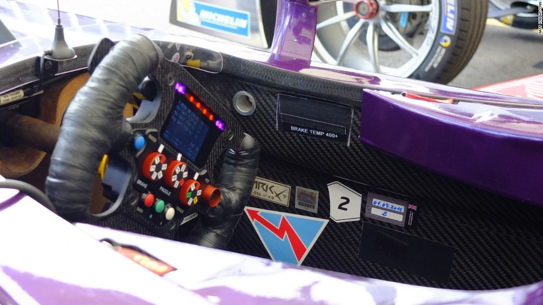 A close up of the cockpit of a DS Virgin Racing car.
