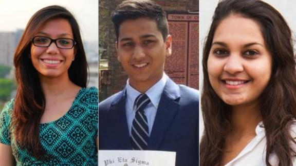 Three of the Bangladesh terror victims. From left, Abinta Kabir, Faraaz Hossein and Tarishi Jain
