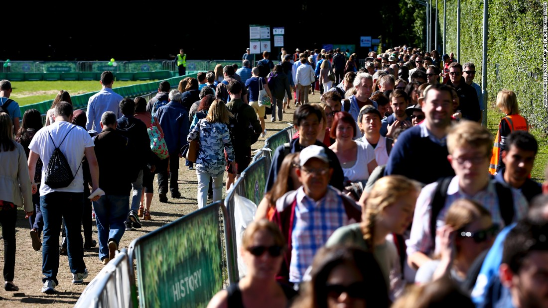This is just the fourth time in its 130-year history that Wimbledon has hosted tennis on the middle Sunday. Tickets went on sale the day before and all 22,000 were snapped up within 27 minutes.