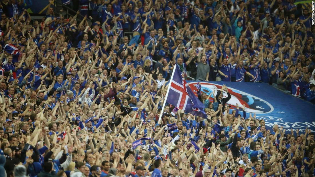 Iceland supporters celebrate during the quarterfinal.