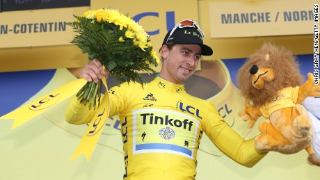 Peter Sagan of Slovakia (Tinkoff-Saxo) was donning the yellow jersey for the first time after winning the second stage.