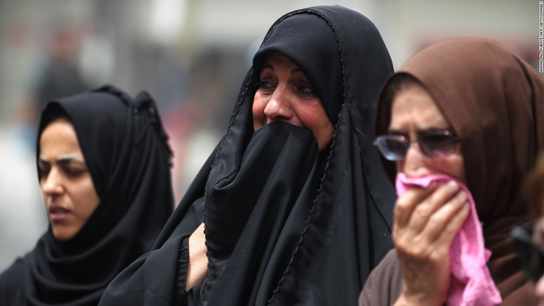 Women react Monday, July 4, at the site of a suicide bombing that took place a day earlier in Baghdad, Iraq. At least 200 people were killed by a truck bomb in the Karrada neighborhood. ISIS claimed responsibility for the attack.