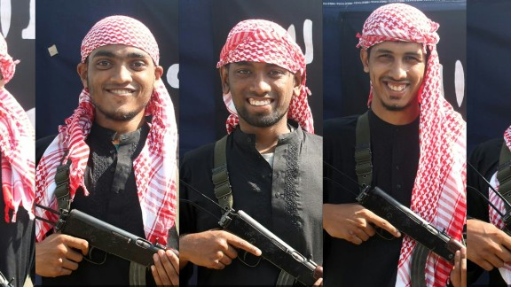 This combination of pictures shows five men, allegedly the gunmen who carried out an attack in the capital Dhaka on July 1, 2016 during which 20 hostages were slaughtered at a restaurant, posing with a rifle in front of a flag of the Islamic State jihadist group at an undisclosed location.