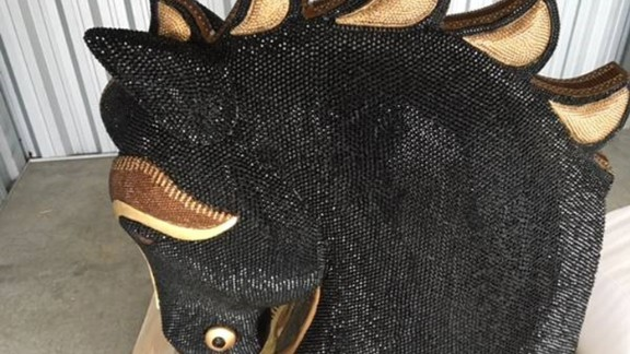 An undated handout photo obtained on July 3, 2016, shows a large diamante-encrusted horse head from Mexico from which New Zealand police said they have seized a record 10 million USD worth of cocaine hidden inside.  The largest-ever haul of the drug in New Zealand has been linked to the rebuild of the city of Christchurch, severely damaged in a 2011 earthquake, and the Australian market. / AFP / STR        (Photo credit should read STR/AFP/Getty Images)