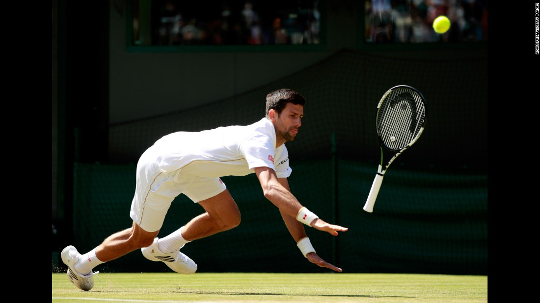 "Novak Djokovic slips in his third-round Wimbledon match against Sam Querrey on Saturday, July 2. Djokovic, the world's top-ranked player, lost in four sets. It was his <a href=""http://www.cnn.com/2016/07/02/tennis/novak-djokovic-wimbledon/index.html"" target=""_blank"">first loss in a Grand Slam</a> since the French Open final in June 2015."