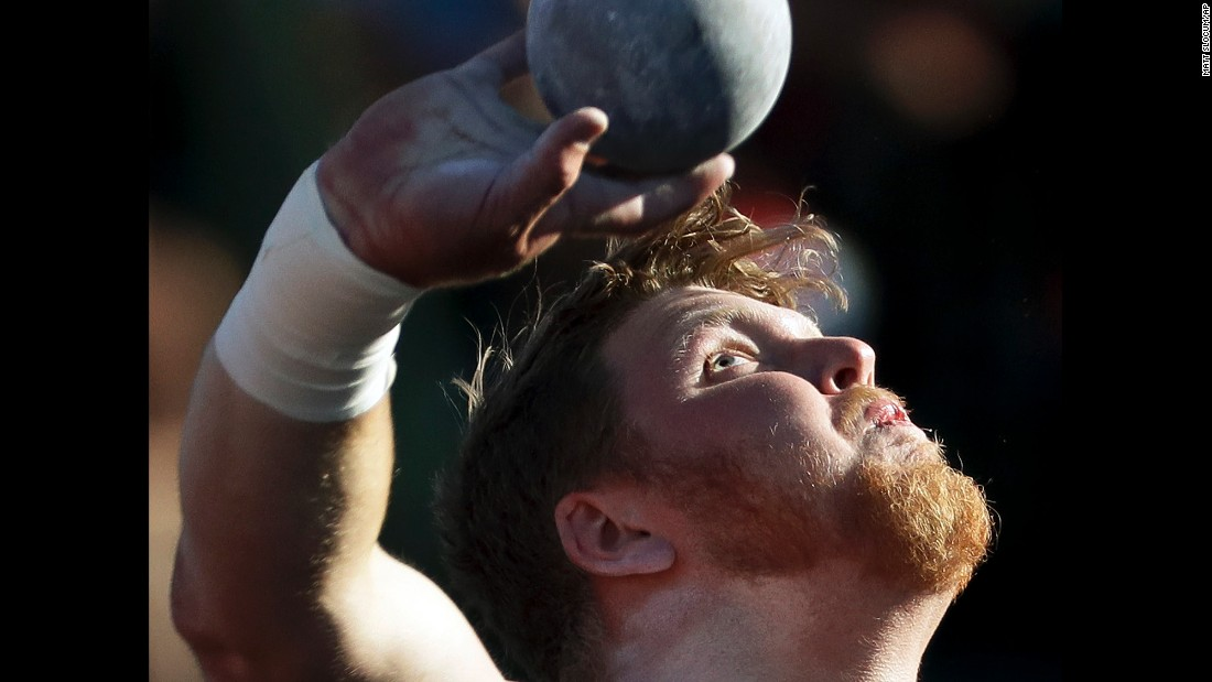 Ryan Crouser competes in the shot put at the U.S. Olympic trials on Friday, July 1. He won the event to clinch a spot in Rio de Janeiro.