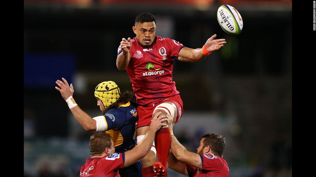 Hendrik Tui wins a lineout ball for the Queensland Reds during a Super Rugby match in Canberra, Australia, on Friday, July 1.