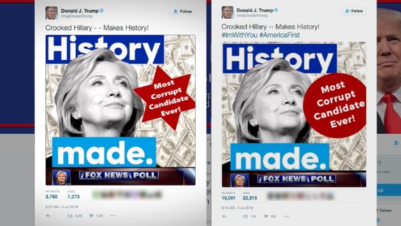 Images Trump Tweeted on Saturday, first the one of the left, which was eventually deleted and replaced with the new image on the right.
