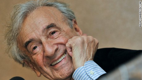 FILE - In this Dec. 10, 2009 file photo, Elie Wiesel smiles during a news conference in Budapest, Hungary. Wiesel, the Nobel laureate and Holocaust survivor has died.  His death was announced Saturday, July 2, 2016  by Israel's Yad Vashem Holocaust Memorial.  (AP Photo/Bela Szandelszky, file)