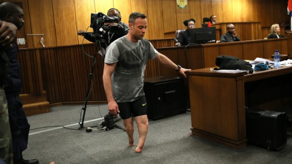 Paralympic athlete Oscar Pistorius walks in the courtroom without his prosthetic legs during his resentencing hearing for the 2013 murder of his girlfriend Reeva Steenkamp at the Pretoria High Court on June 15, 2016. A sobbing Oscar Pistorius walked hesitantly on his stumps around court on June 15 in a dramatic demonstration of his disability ahead of his sentencing for murdering his girlfriend Reeva Steenkamp. / AFP / POOL / Alon Skuy        (Photo credit should read ALON SKUY/AFP/Getty Images)