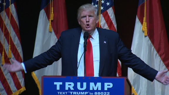 Donald Trump speaking during his Raleigh rally on July 5, 2016