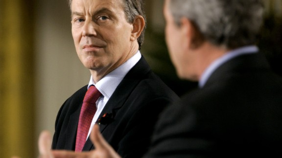 WASHINGTON - NOVEMBER 12:  U.S. President George W. Bush (R) and British Prime Minister Tony Blair speak during a news conerence in the East Room of the White House November 12, 2004 in Washington DC. This is the first meeting between Blair and the President since Bush was re-elected.  (Photo by Mark Wilson/Getty Images)