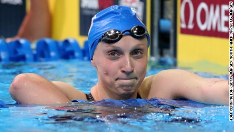 OMAHA, NE - JULY 02:  Katie Ledecky of the United States celebrates after finishing first in the final heat for the Women's 800 Meter Freestyle during Day Seven of the 2016 U.S. Olympic Team Swimming Trials at CenturyLink Center on July 2, 2016 in Omaha, Nebraska.  (Photo by Tom Pennington/Getty Images)
