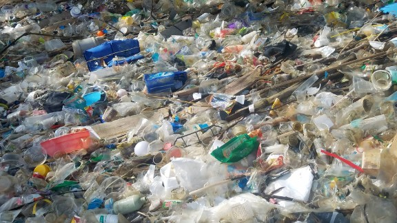 Labels and packaging seem to indicate much of the trash comes from mainland China.