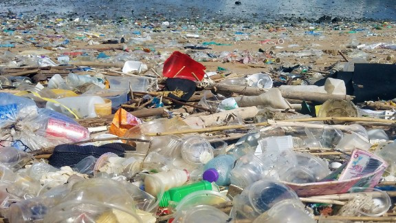 Photo taken on July 6, 2016 shows large amounts of trash has been washing up on Hong Kong beaches in recent days.