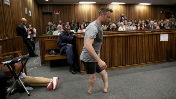 Pistorius walks without his prosthetic legs during his sentencing hearing in Pretoria on Wednesday, June 15. His attorney was arguing that he was a vulnerable figure who should receive a lesser sentence for murder.