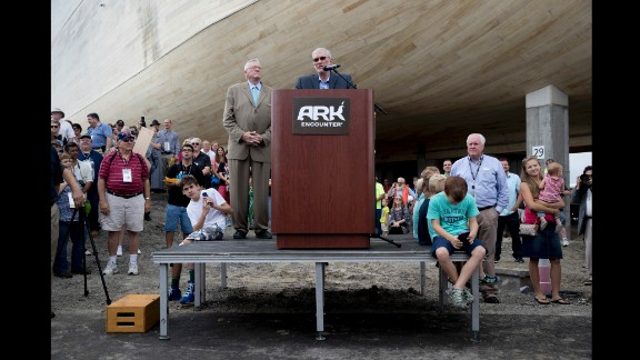 Park founder Ken Ham speaks at the ceremony.