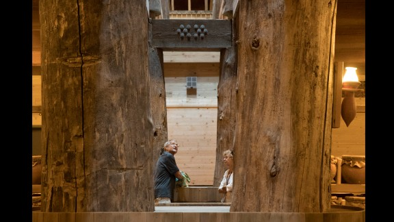 People tour the interior of the ark.
