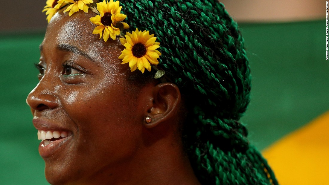 "Shelly-Ann Fraser-Pryce won world championship gold in 2015 with flowers in her hair and green braids. What's the plan for Rio? ""I haven't made up my mind but I'm loving blue right now...""<br />"