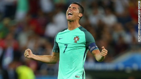 Cristiano Ronaldo celebrates after Portugal defeated Wales 2-0 in the  semifinals of Euro 2016 03ac8f9ab462d