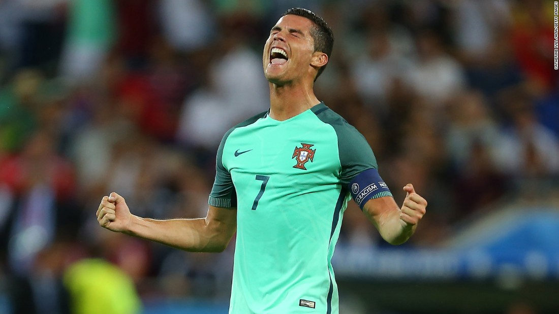 Cristiano Ronaldo celebrates after Portugal defeated Wales 2-0 in the semifinals of Euro 2016. Portugal will play France or Germany in Sunday's final.