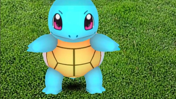 Here's a Squirtle (type of Pokemon), waiting to be caught.