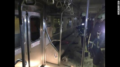 An explosion leaves the car of a commuter train in Taiwan damaged Thursday evening.