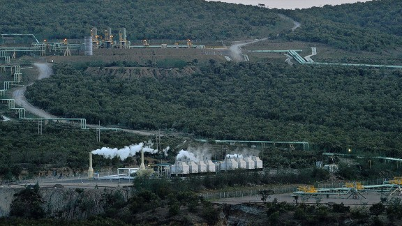 Several renewable power plants are operating in the geothermal fields of Olkaria, Kenya, harvesting the power of underground geothermal energy. The site is located on the floor of the Kenyan Rift Valley, near the shores of Lake Naivasha some 120 kilometers north-east of the capital, Nairobi.