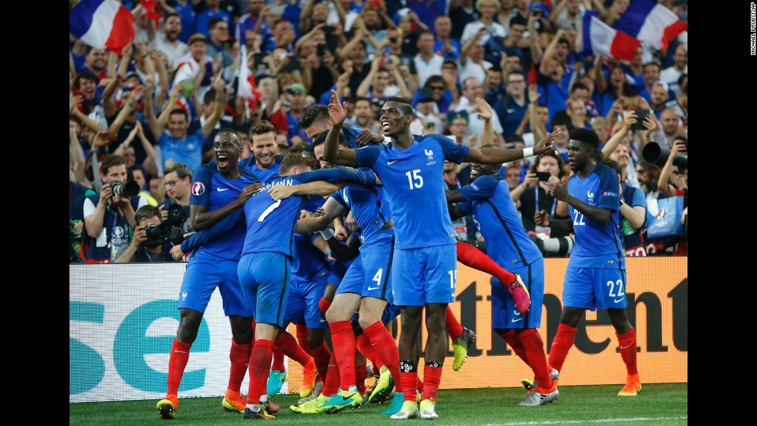 French players celebrate after defeating Germany 2-0 in the semifinals of Euro 2016 on Thursday, July 7. France, the tournament hosts, will play Portugal in Sunday's final.