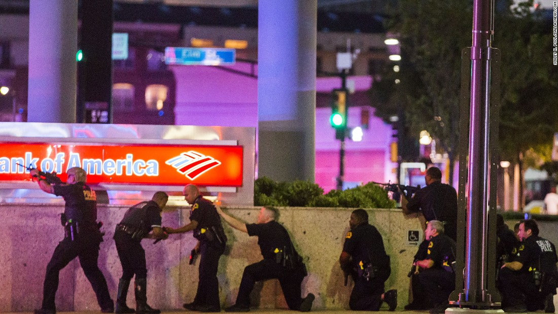 "Police respond after shots were fired in downtown Dallas on Thursday, July 7. <a href=""http://www.cnn.com/2016/07/08/us/philando-castile-alton-sterling-protests/index.html"" target=""_blank"">Five police officers were fatally shot </a>during a protest over recent police shootings in Louisiana and Minnesota. Seven other officers were injured in the ambush, as were two civilians."