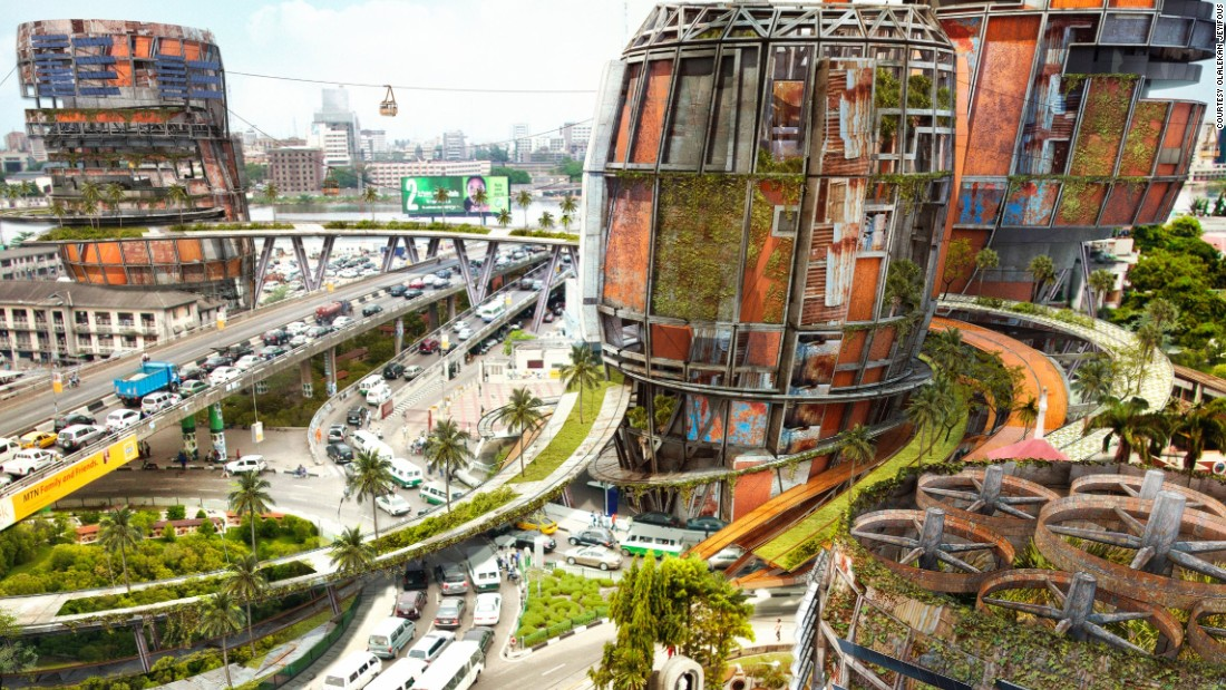 Brooklyn based architect turned artist Olalekan Jeyifous imagines what Lagos, Nigeria could look like in the future in his series Shanty Megastructures. The images juxtapose sites of privileged and much coveted real-estate throughout Lagos with colossal vertical settlements, representing marginalized communities.