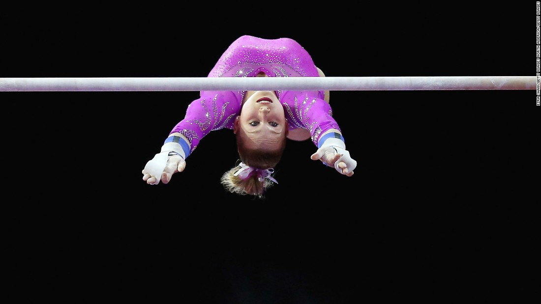 Brenna Dowell, seen here on the uneven bars during this year's Pacific Rim Championships, earned silver in the floor exercise at that meet.