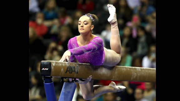 Maggie Nichols of the United States competes on the beam during the 2016 AT&T American Cup on March 5 at Prudential Center in Newark, New Jersey.