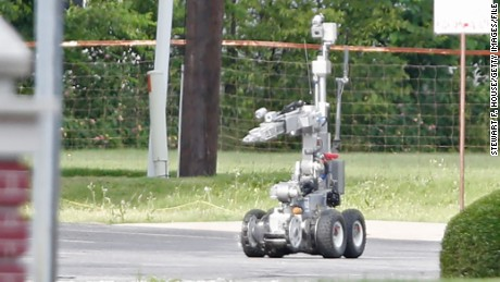 Dallas police use a robot, similar to the one used to kill the suspect in the recent shootings, in 2015.