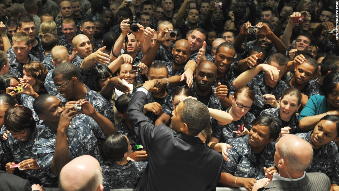 U.S. President Barack Obama greets military personnel at the Naval Air Technical Training Center at Pensacola Naval Air Station June 15, 2010, in Pensacola, Florida.
