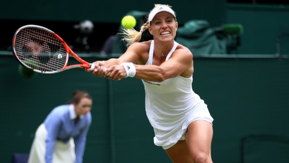 Kerber stretches to play a shot during the hotly-contested final on Centre Court.